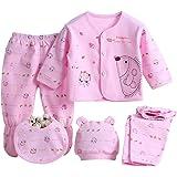 Babywow 5PCS Newborn 0-3M Boys Girls Baby Cotton Clothes Tops Hat Pants Sleepwear Suit Outfit Sets