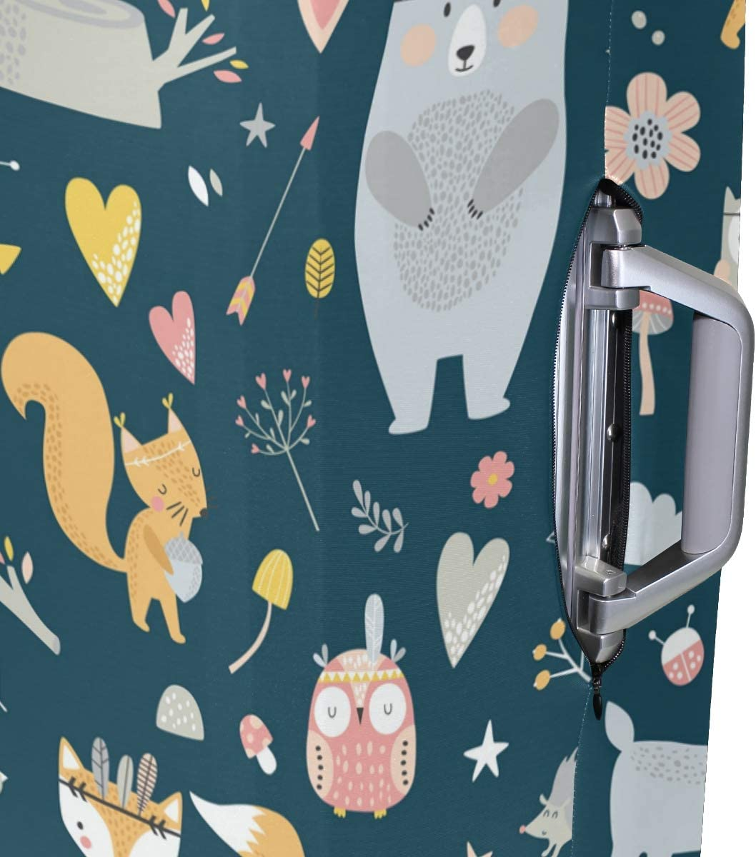 FOLPPLY Forest Cartoon Fox Owl Bear Feather Floral Luggage Cover Baggage Suitcase Travel Protector Fit for 18-32 Inch