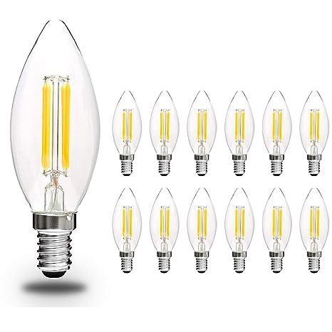 Svater Bombillas Vela de Filamento LED E14 Edison Estilo Vendimia Blanco Cálido 2700K 450 Lúmenes 4W