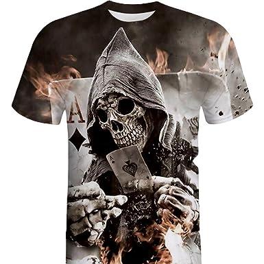 Impression T Homme Crâne Manches Courtes Hommes 3d Shirt Vtops 8wnONkX0P
