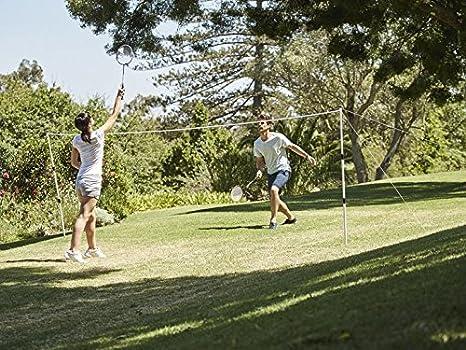 Crivit bádminton Juego completo para hasta 4 jugadores: 4 raquetas, 3 pelotas, red de Juego ajustable cordones y suelo ancla: Amazon.es: Deportes y aire libre