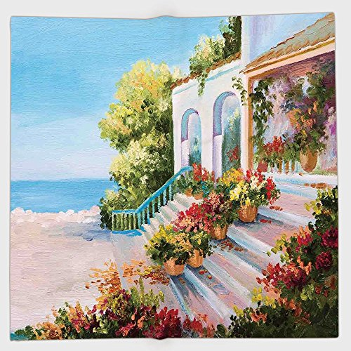 Cotton Microfiber Hand Towel,Landscape,Sea View From the Terrace of a Retro House Art Flowers Old Stairs,Light Blue Beige Green,for Kids, Teens, and Adults,One Side ()