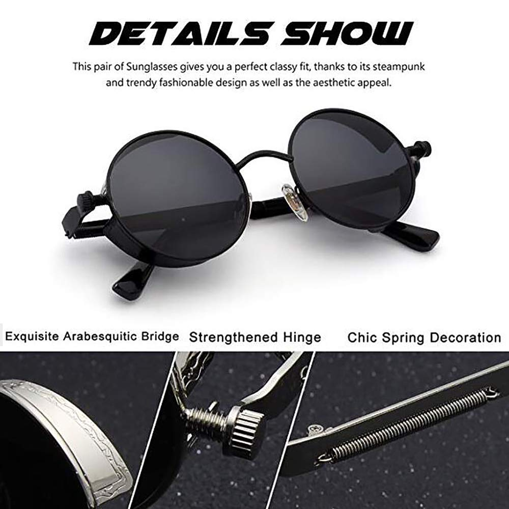845dcfc562 Amazon.com  Steampunk Sunglasses Hippie Retro Round Driving Travel Glasses  Women Men  Clothing