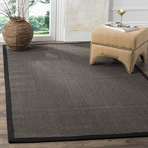Safavieh Natural Fiber Collection NF441D Hand Woven Charcoal Sisal Area Rug (8' x - Rectangle Rug Pile Low