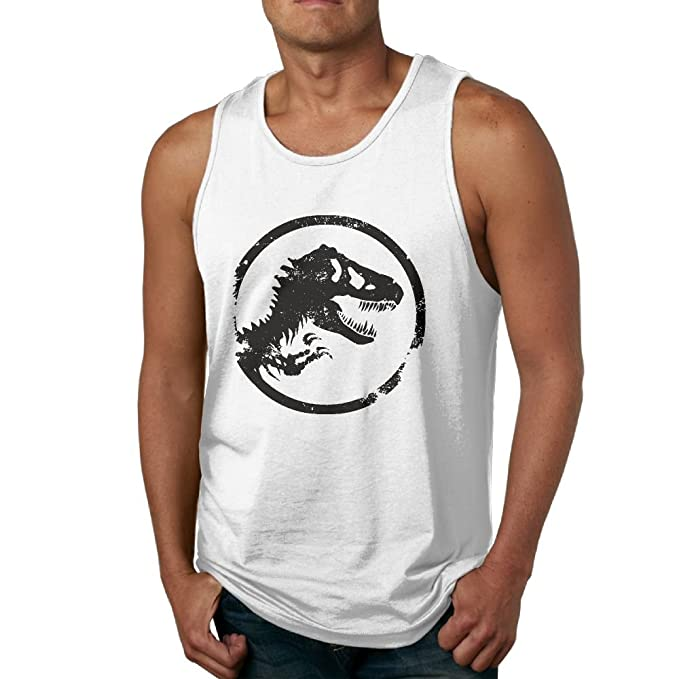785a7d340d3ece Amazon.com  LanZhuoq Men s Jurassic Park World Logo Fitness Gym White Tank  Top Tank Tops  Clothing