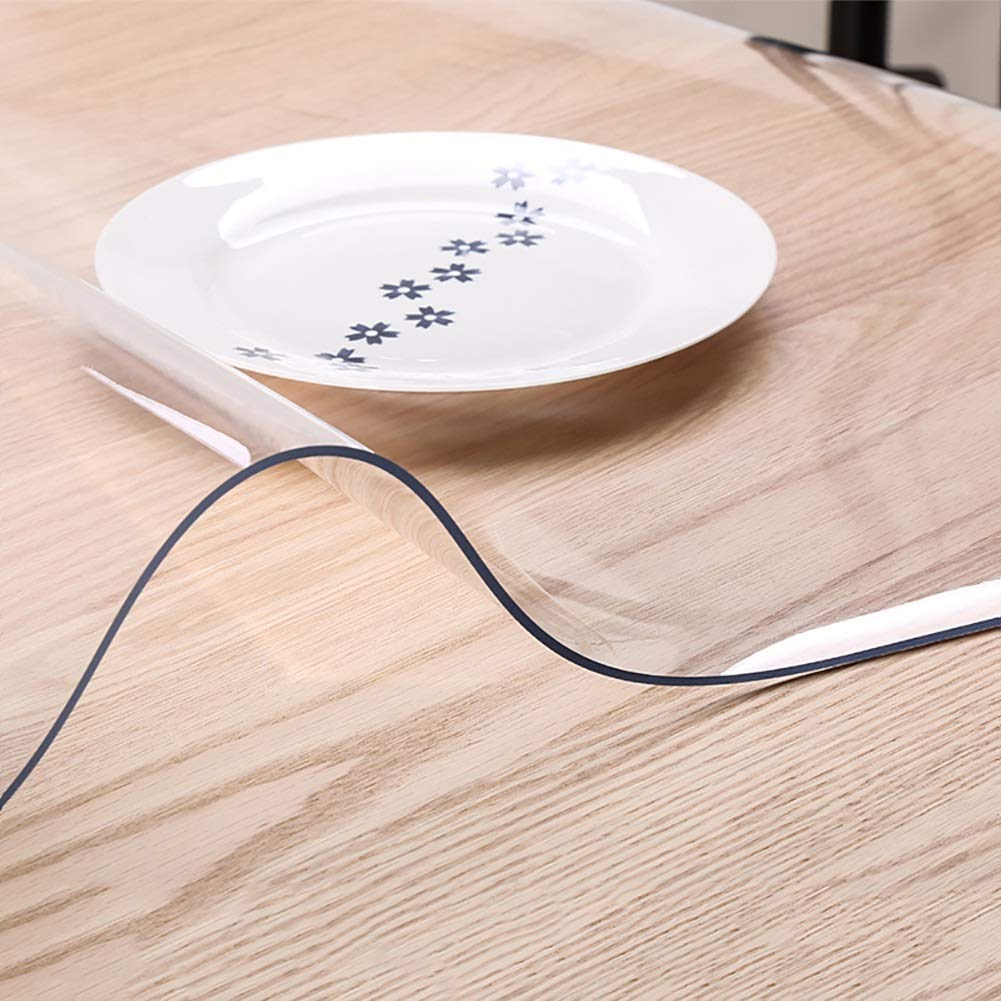 Manteles de PVC Espesado de 3 mm, Transparente Transparente a Prueba de Calor, Resistente al Calor (Tamaño : Diameter 80 cm)