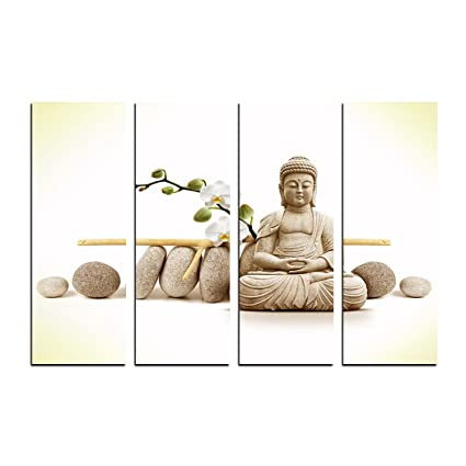 eCraftIndia 4 Panel Meditating Buddha Premium Canvas Painting (100 cm x 1 cm x 61 cm, Set of 4, CPGKB2109)