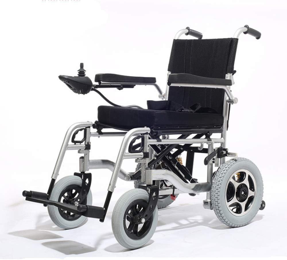 CPDZ Aleación de Aluminio Negro Silla de Ruedas eléctrica para Personas Mayores Discapacitado Silla de Viaje portátil Plegable Cinturón de Seguridad Incorporado Ruedas traseras Anti inclinadas