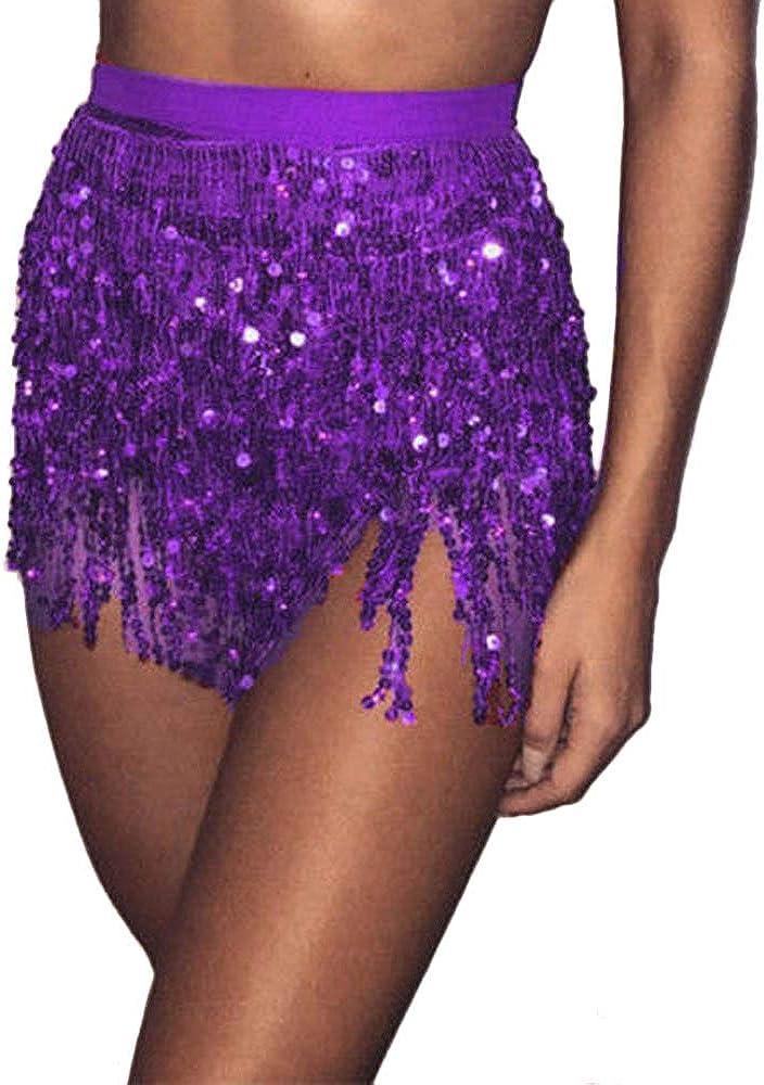 VRTUR Danseuse Orientale Femmes Paillette Costume Gland/Emballage Jupe Club Mini-Jupe Court F/êTe De Carnaval F/êTe du Festival des Prairies