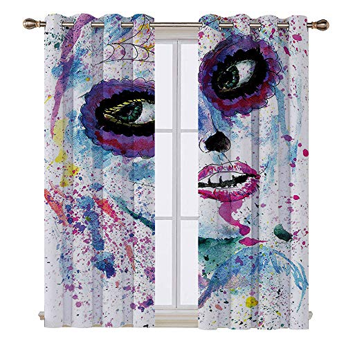 SATVSHOP Window Treatments Curtains Valance for Living Room - 96W x 84L Inch- Girly Grunge Halloween Lady with Sugar Skull Make Up Creepy Dead Face Gothic Woman Artsy Blue Purple.