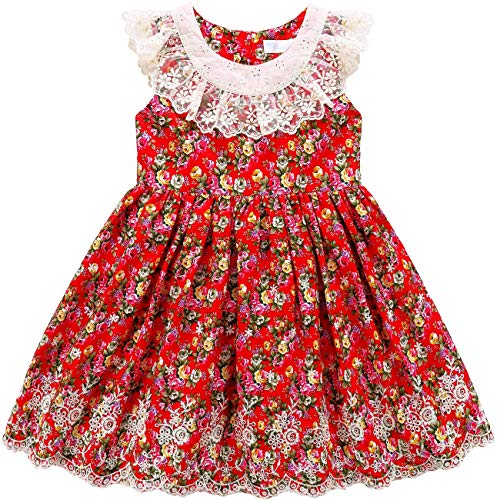 (Sharequeen Girls Sleeveless Dress, Children Dress for Flower Lace Rose Embroidery Cotton Ruffle Design Swing Party Dresses (1-2T Height 32
