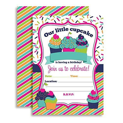 Cupcake Birthday Party Invitations for Girls, Ten 5