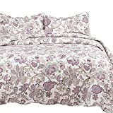 quilts king size purple - Bedsure Bedding Quilt Set Luxury Bedroom Bedspread Pastoral Floral Pattern King Size 106