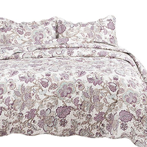 "Bedsure Spring Bedding Quilt Set Luxury Bedroom Bedspread Pastoral Floral Pattern Full/Queen Size 90""x96"" Microfiber Lightweight Vintage"