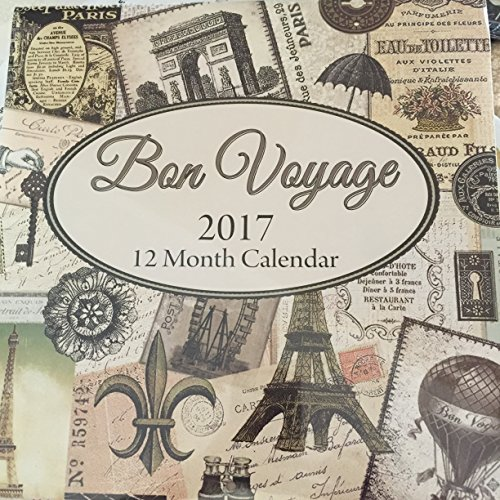 Bon Voyage 2017 Calendar 12 Month Paris France French Victorian Tea Eiffel Tower Peacock Butterfly