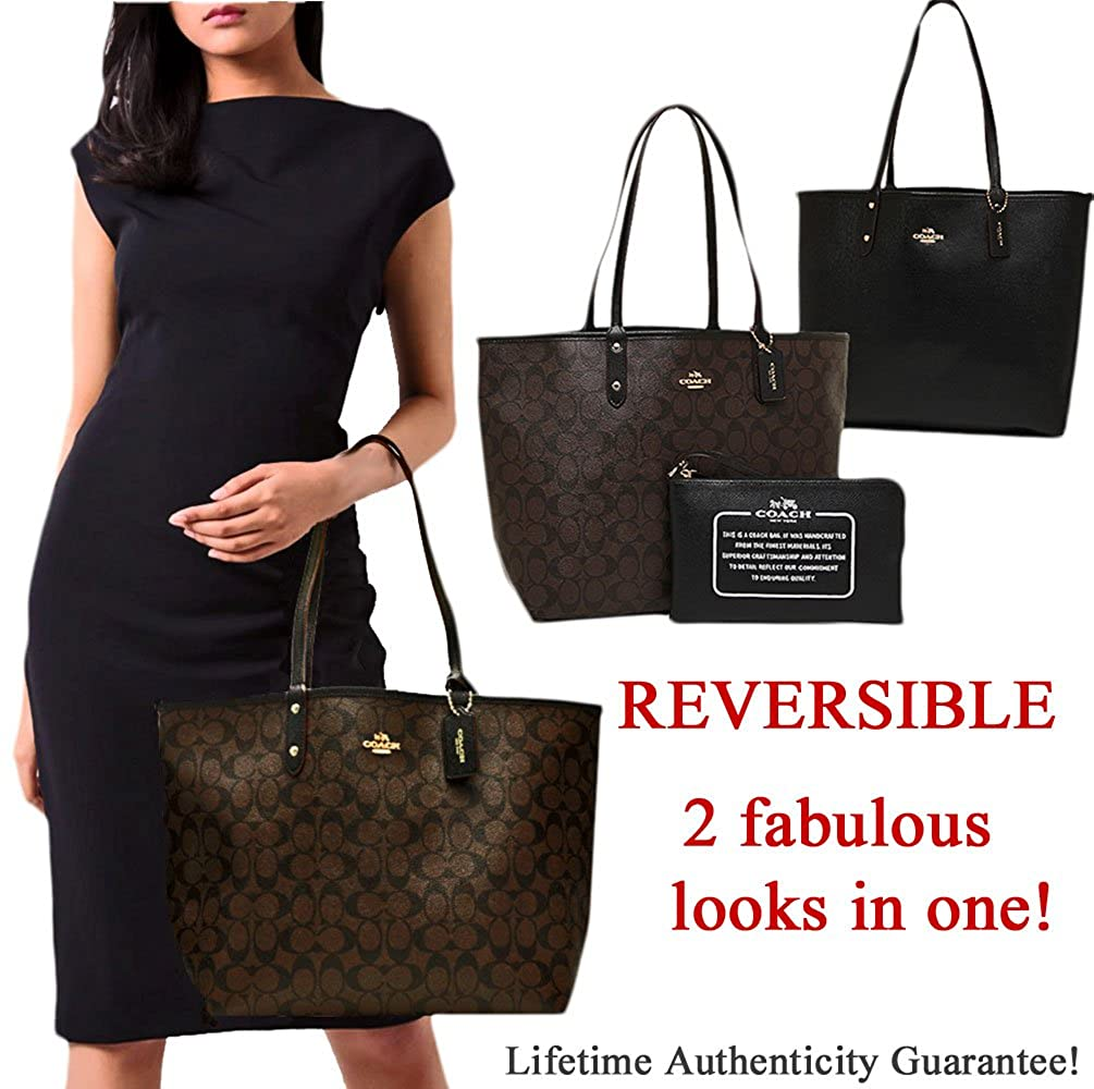 0ff7c7a2e7c7 Amazon.com  SALE ! New Guaranteed Authentic Genuine COACH Extra Large XL  Shoulder Tote Bag in Monogram Brown   Black!  Shoes