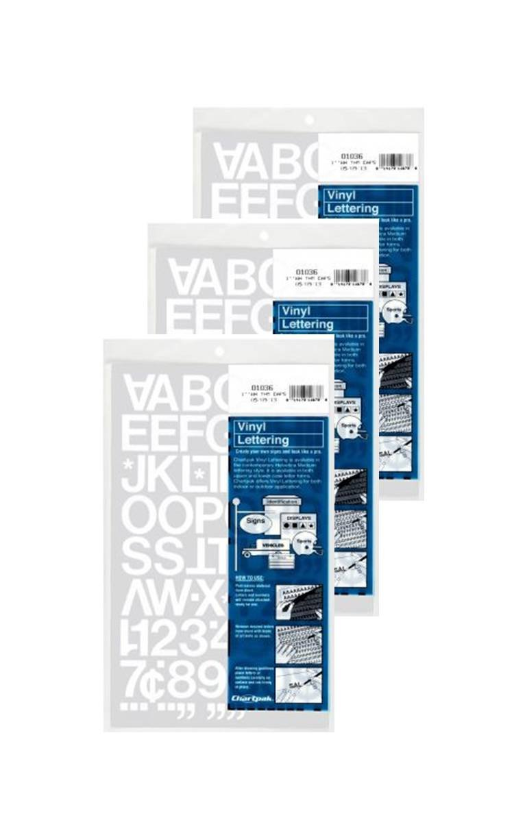 Chartpak 1-inch White Stick-on Vinyl Letters & Numbers (01036), 3 PACKS
