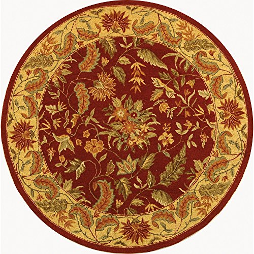 Safavieh Chelsea Collection HK141C Hand-Hooked Red Premium Wool Round Area Rug (5'6