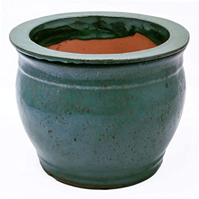 "8"" Jade Green Ceramic Self Watering Planter with 6"" Opening : Garden & Outdoor"