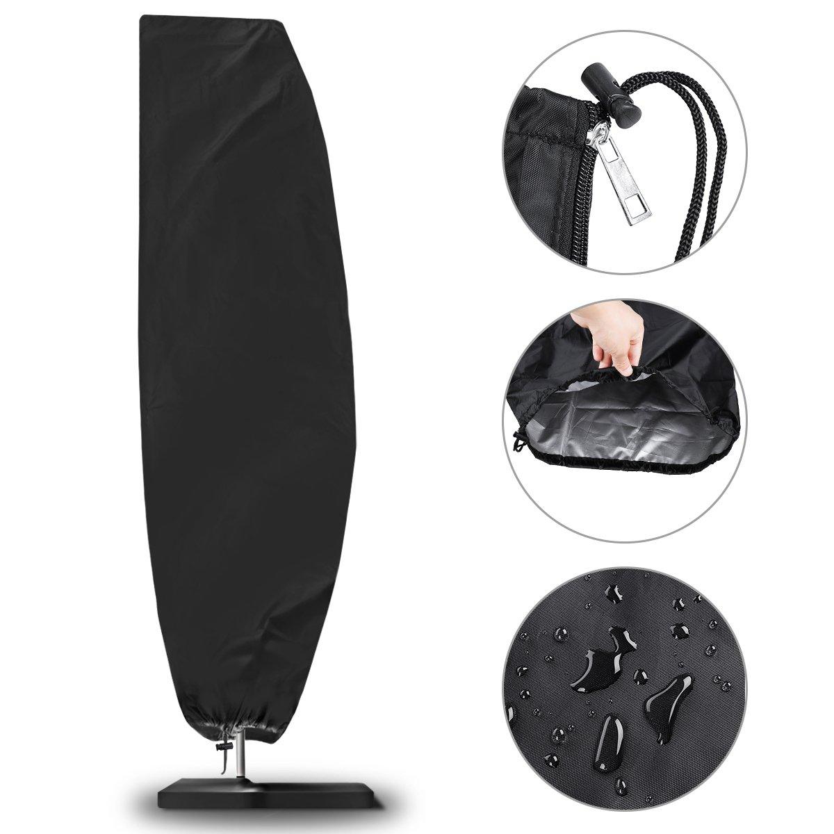 Copertura per ombrellone, NASUM Fodera Protettiva Per Ombrellone(210D Oxford Diameter 2-4m), Impermeabile, Antipolvere, Resistente ai Raggi UV/Resistente alle Intemperie, con Custodia Nera (265 * 50 * 70 * 40cm)