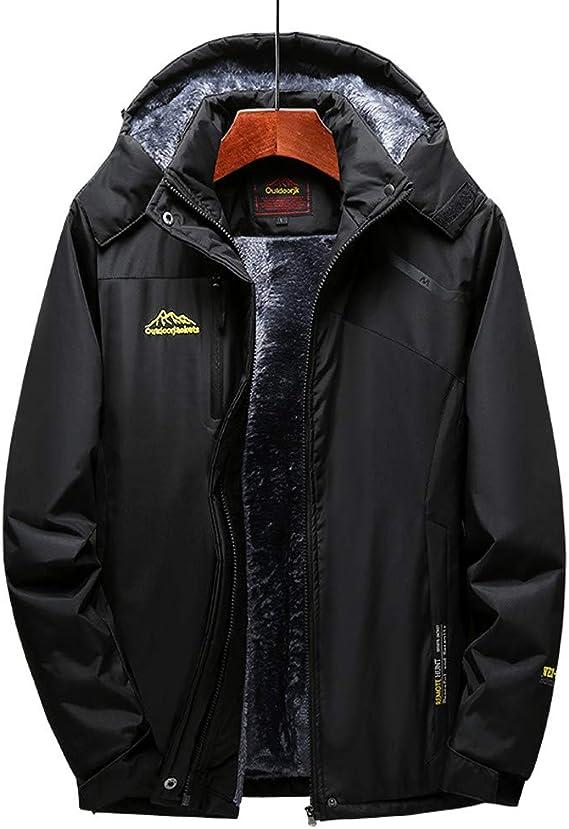 Keaac Men Outerwear Coats Faux Fur Hooded Cotton Padded Parka Jacket