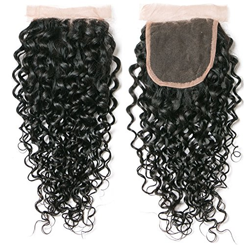 Brazilian Virgin Hair 4 Bundles with Closure Water Wave Hair Bundles with 4x4 Free Part Closure Unprocessed Virgin Human Hair (20 22 24 26 with 18, Natural Color) by Younsolo (Image #2)