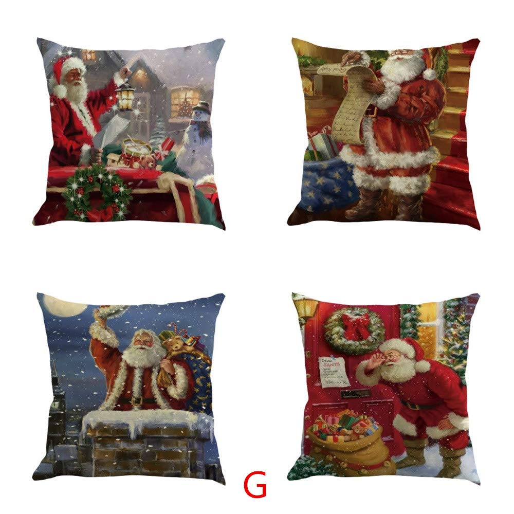 Funda de almohada de Navidad, funda de almohada de lino y ...