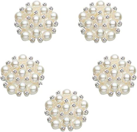 5 Shapes Diamante Rhinestone Crystal Pearl Embellishments Buttons Flatbacks
