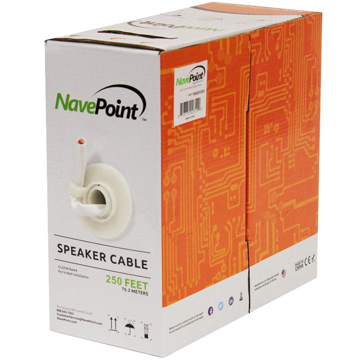 NavePoint 250ft in Wall Audio Speaker Cable Wire CL2 16/2 AWG Gauge 2 Conductor Bulk White by NavePoint