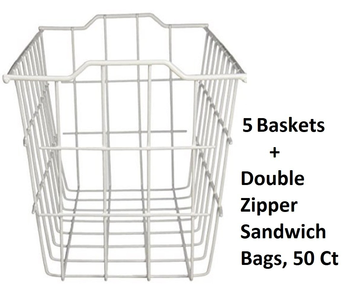 40604, Deep Storage Basket, White (Extra Deep (5-pack) + Freebie) by Grayline