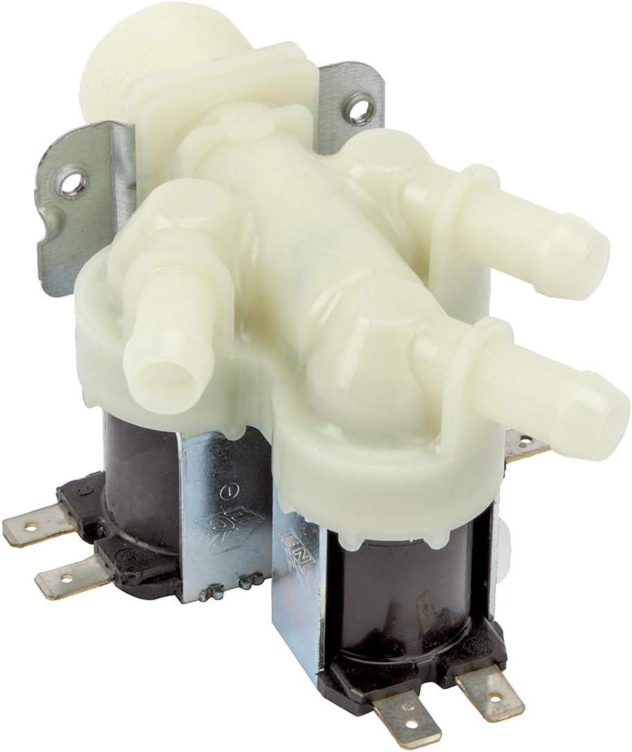 MIRTUX Válvula solenoide 3 Vías de entrada, 220V, SalIda 180º para Lavadoras, Lavavajillas.