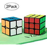 TaoLeLe Speed Cube Set, Magic Cube Set of 2x2x2 3x3x3 Smooth Puzzle Cube Set with Cleaning Cloth