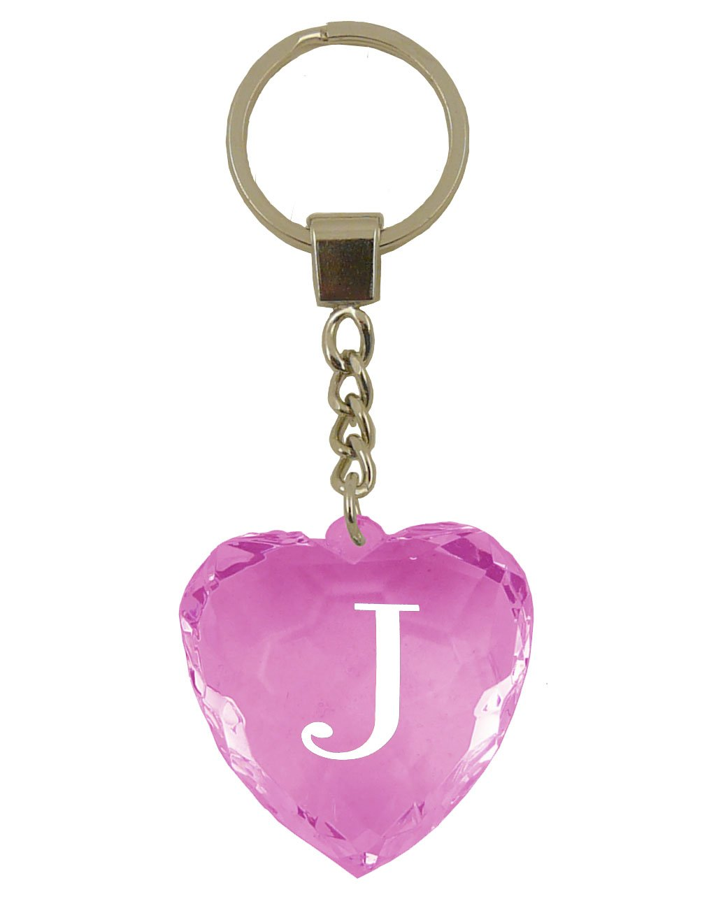 Initial Letter J Heart Shaped Keyring - Pink: Amazon.co.uk: Toys & Games