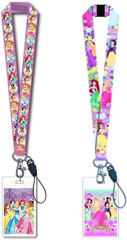 Disney Princess Purple Lanyard and Princesses Pink Multi-Color Lanyard 2 Pack Office Gift Set