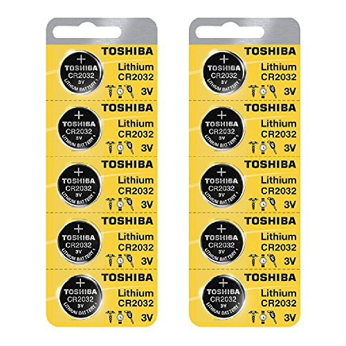Price comparison product image Toshiba CR2032 3 Volt Lithium Coin Battery (10 pcs)