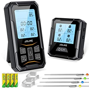 JOLIKE Digital Wireless Meat Thermometer for Grilling and Smoking 328FT Remote Chef Alarm 4 Temp Probes for Oven BBQ Kitchen Cooking Waterproof Pouch Included