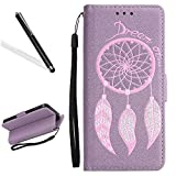 Leecase Light Purple Luxury Retro Glitter Scrub Hand Feeling Embossed Dreamcatcher PU Leather Strap Money Pouch Magnetic Flip Protective Skin Case Cover for Samsung Galaxy J7 2017