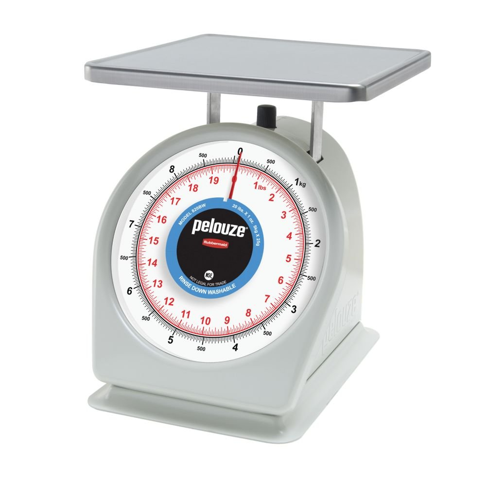 Rubbermaid Commercial Products FG820BW Washable Food Service Mechanical Portion Control Scale, with Metric Measurements, 20 lb.