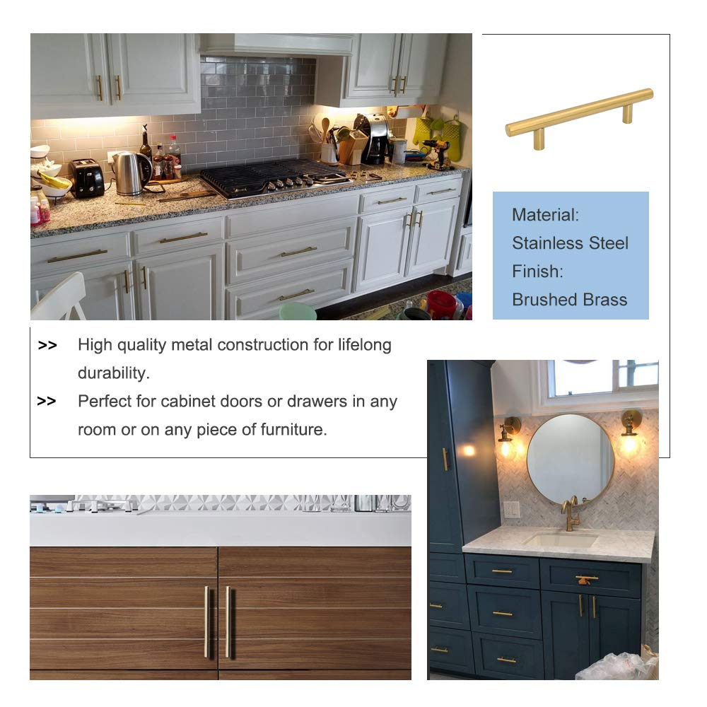 goldenwarm Gold Kitchen Cabinet Handles Brushed Brass Cabinet Pull LS201GD96 Kitchen Hardware 96mm Drawer Handles 3-3//4in Hole Center 6in Overall Length 5 Pack