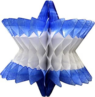 product image for 3-Pack Hanging Honeycomb Tissue Paper Star of David Party Decoration, Blue & White, 9 Inch
