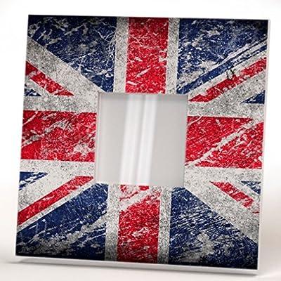 UK Flag Wall Framed Mirror Aged Union Jack Fan Art Home Patriotic British Decor Printed Design Gift
