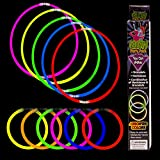 Fun Central M614 21 Pieces 5mm Glow in the Dark Bracelet and Necklace Kit, Glow Stick Bracelets, Glowing Necklace - Perfect for Neon Parties, Raves, Festival, Concerts, Birthday Parties - Assorted