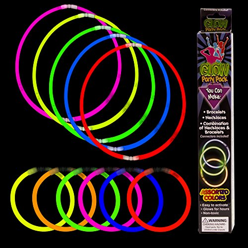 Fun Central M614 21pcs, Glow in The Dark Bracelet and Necklace Kit, Glow in The Dark Necklaces, Glow Stick Bracelets - Assorted]()