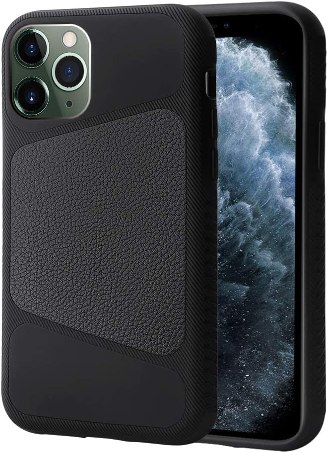 LAUDTEC iPhone 11 Pro Max Case 6.5 inch Triangle Stitching Pattern of Leather Material with Anti-Skid Texture Design and TPU Hybrid Case Cover for iPhone 11 Pro Max 2019 (Black)