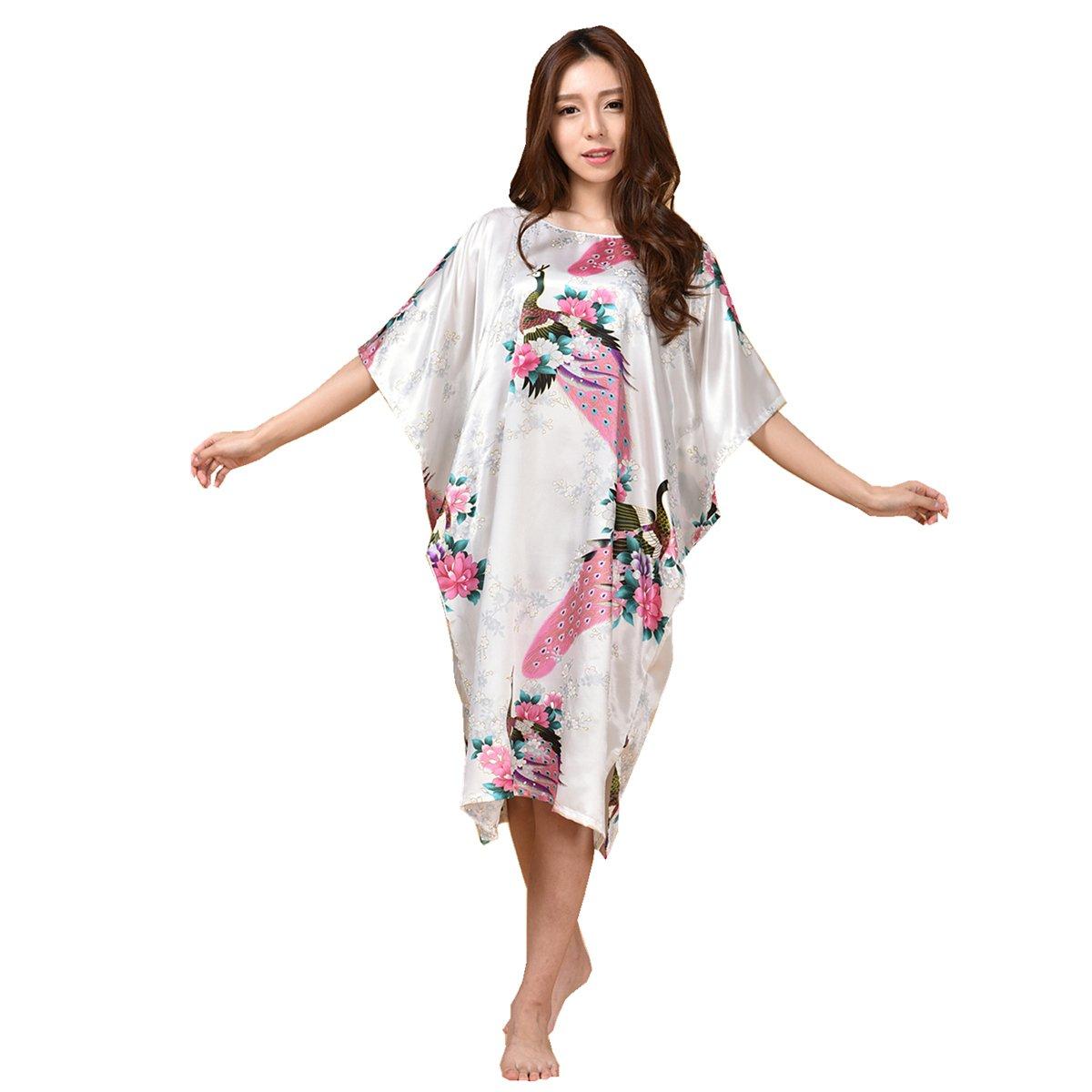 GL&G Animal pattern lady silk bathrobe thin section pajamas printing single skirt loose large yards home service comfortable white bathrobes,white,One size