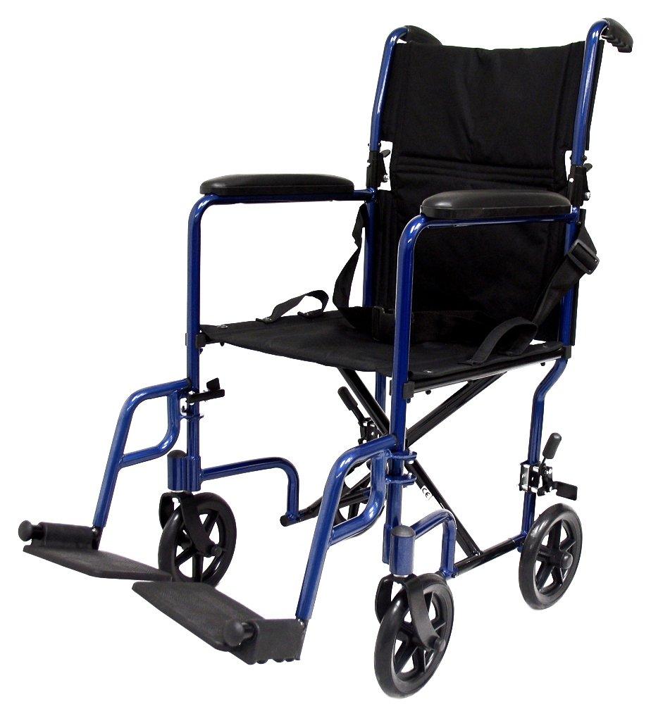 Karman Healthcare LT-2017-BL Folding Aluminum Transport Chair, Blue, 17'' Seat Width by Karman Healthcare