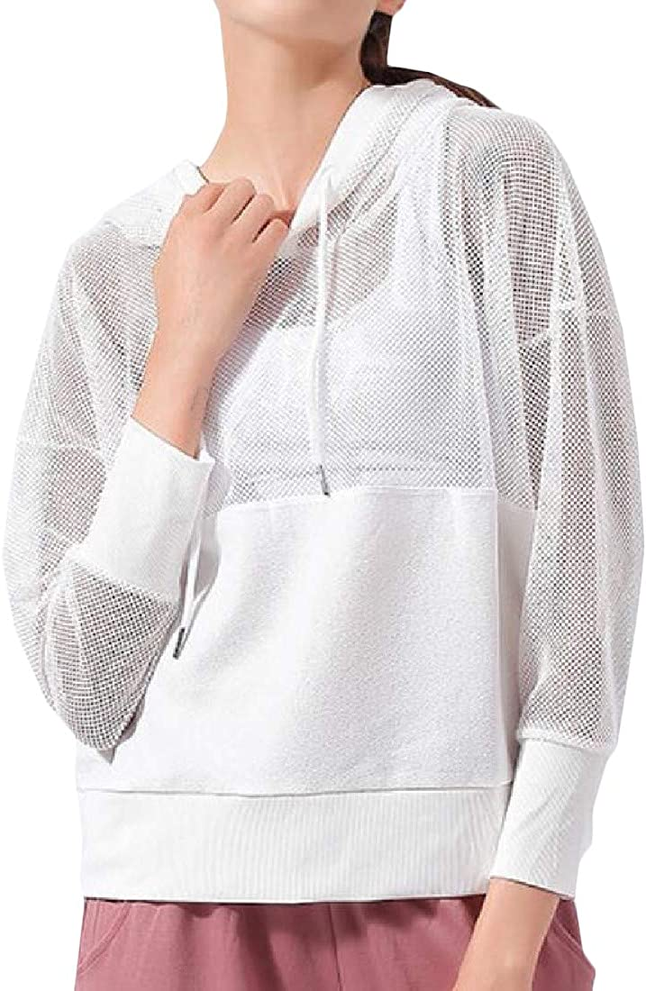 Cromoncent Womens Hollow Yoga Stitching Sunscreen Long Sleeve Hooded T-Shirt Top