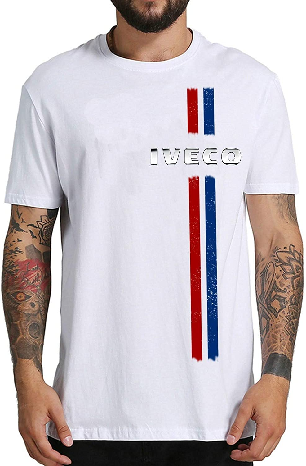 Iveco Italian Car Mens Short Sleeves Black White tee Shirt Fashion ...