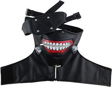 Halloween Tokyo Ghoul Kaneki Ken Costume Cosplay Zipper Belt Mask Wig Eye patch
