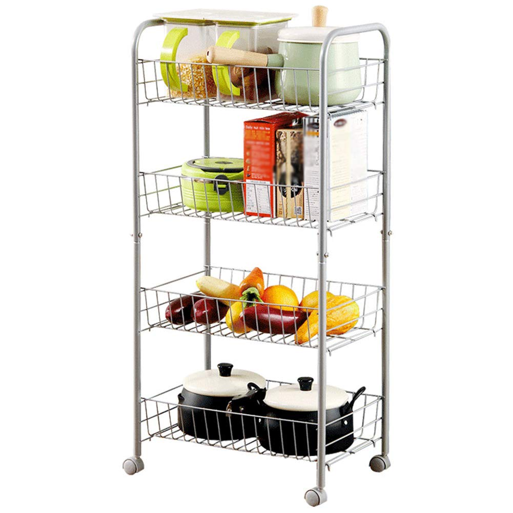 Shelf Storage Racks Pot Rack Storage Basket Shelf Baskets Creative Kitchen Landing Storage Shelf 4th Floor It Can Move Storage Rack Large Capacity ZHAOYONGLI
